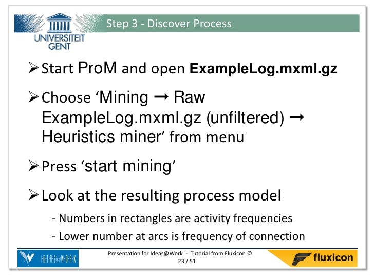 Step 3 - Discover ProcessStart ProM and open ExampleLog.mxml.gzChoose 'Mining ➞ Raw ExampleLog.mxml.gz (unfiltered) ➞ He...