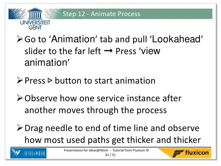 Step 12 - Animate ProcessGo to 'Animation' tab and pull 'Lookahead' slider to the far left ➞ Press 'view animation'Press...