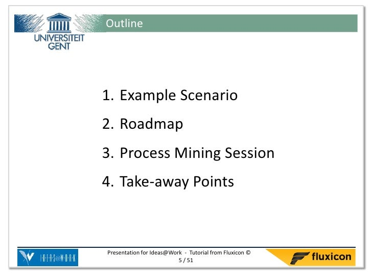 Outline1. Example Scenario2. Roadmap3. Process Mining Session4. Take-away PointsPresentation for Ideas@Work - Tutorial fro...