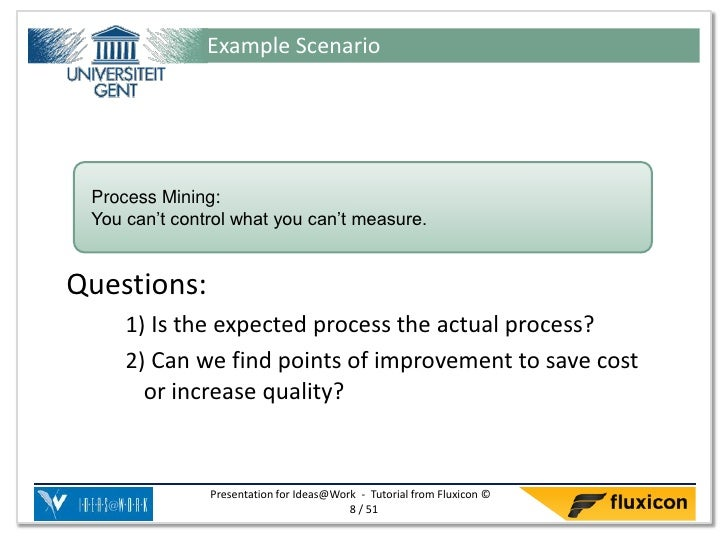 Example Scenario Process Mining: You can't control what you can't measure.Questions:     1) Is the expected process the ac...