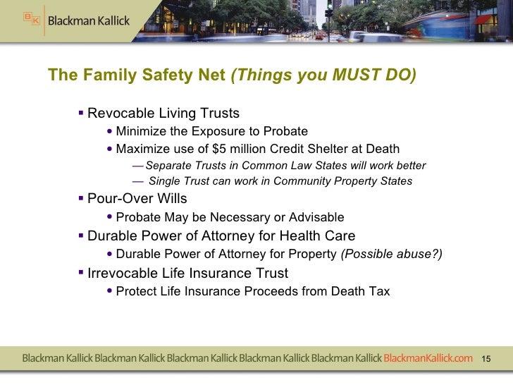 The Family Safety Net  (Things you MUST DO) <ul><li>Revocable Living Trusts </li></ul><ul><ul><li>Minimize the Exposure to...