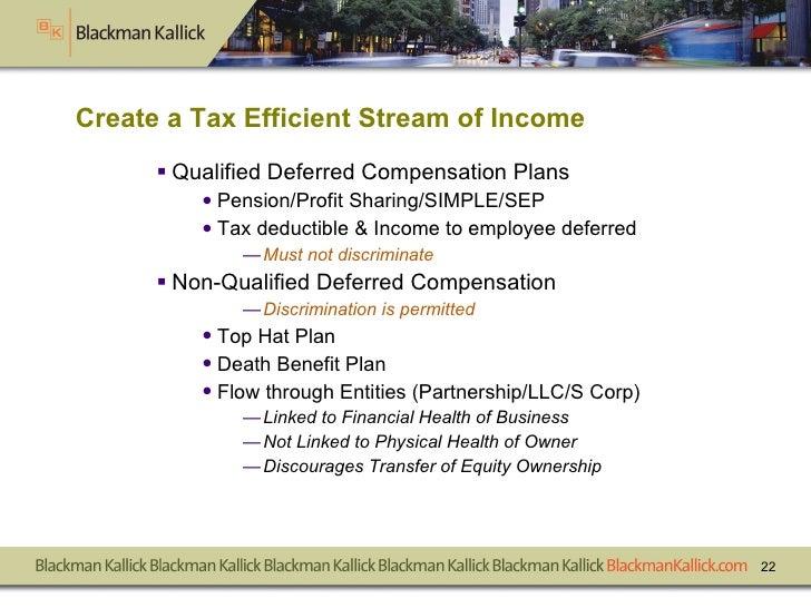 Create a Tax Efficient Stream of Income  <ul><li>Qualified Deferred Compensation Plans </li></ul><ul><ul><li>Pension/Profi...