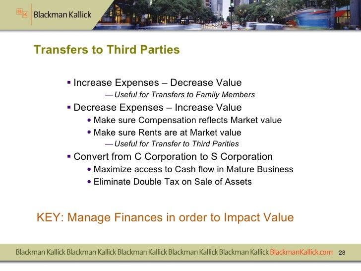 Transfers to Third Parties <ul><li>Increase Expenses – Decrease Value </li></ul><ul><ul><ul><li>Useful for Transfers to Fa...