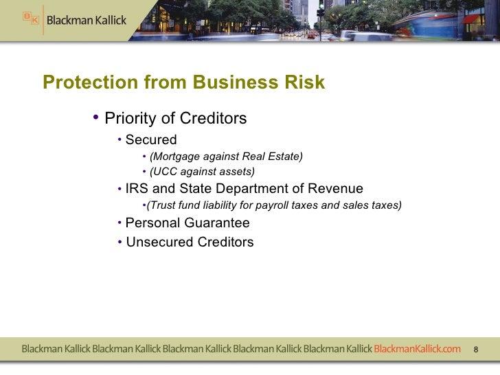 <ul><li>Priority of Creditors </li></ul><ul><ul><li>Secured  </li></ul></ul><ul><ul><ul><li>(Mortgage against Real Estate)...