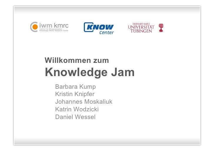 Willkommen zumKnowledge Jam  Barbara Kump  Kristin Knipfer  Johannes Moskaliuk  Katrin Wodzicki  Daniel Wessel