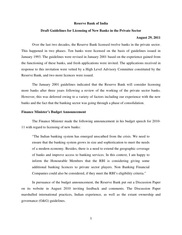 Reserve Bank of India             Draft Guidelines for Licensing of New Banks in the Private Sector                       ...