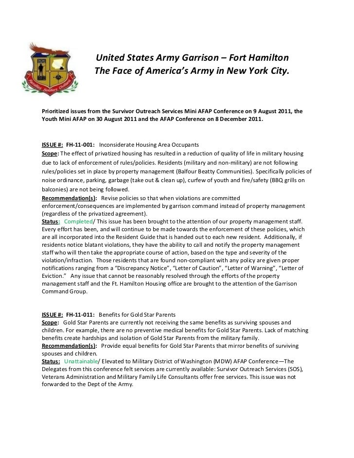 United States Army Garrison – Fort Hamilton                    The Face of America's Army in New York City.Prioritized iss...