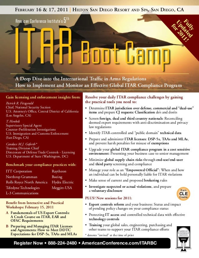ITARBoot Camp American Conference Institute's 5th February 16 & 17, 2011   Hilton San Diego Resort and Spa, San Diego, CA ...