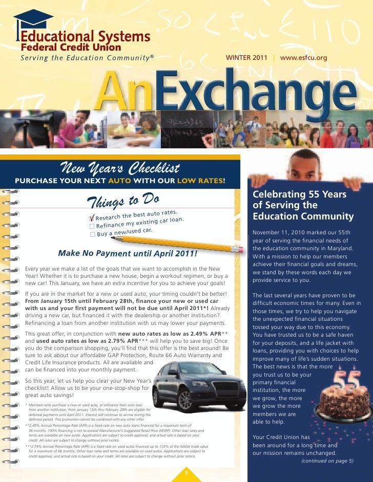 WINTER 2011 | www.esfcu.org                                             AnExchange                                        ...