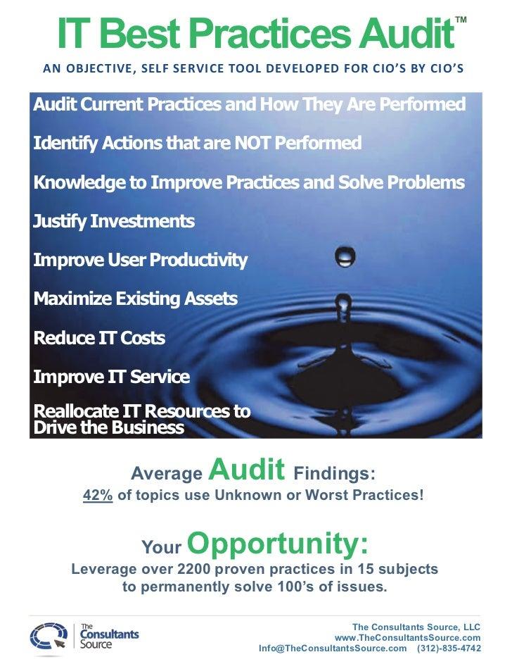 IT Best Practices Audit                                                                       TM AN OBJECTIVE, SELF SERVIC...