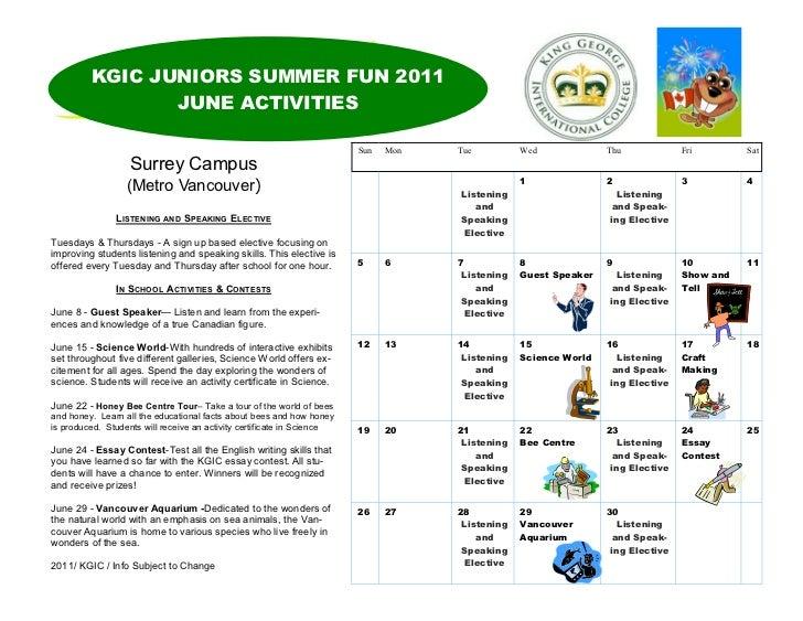 KGIC JUNIORS SUMMER FUN 2011                JUNE ACTIVITIES                                                               ...