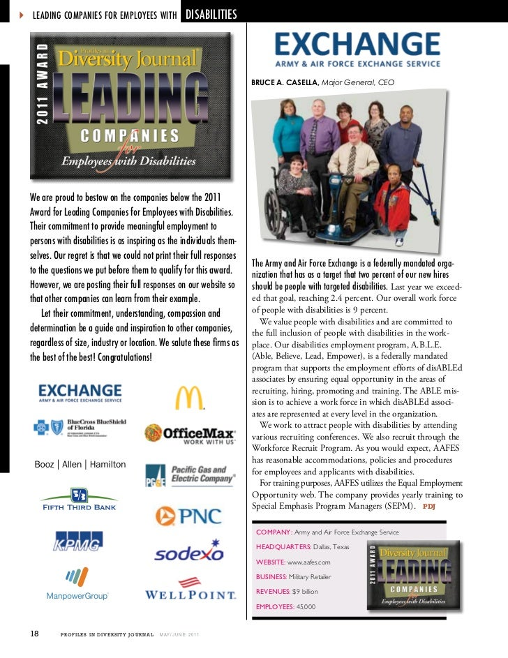  LEADing COMPAniEs FOr EMPLOyEEs wiTh DisABiLiTiEs   we are proud to bestow on the companies below the 2011   Award for L...
