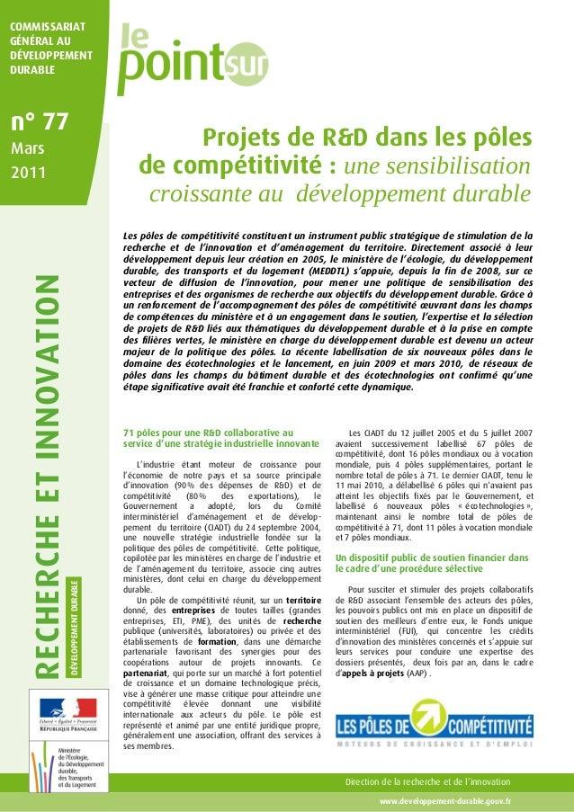 RECHERCHEETINNOVATION DÉVELOPPEMENTDURABLE Direction de la recherche et de l'innovation www.developpement-durable.gouv.fr ...
