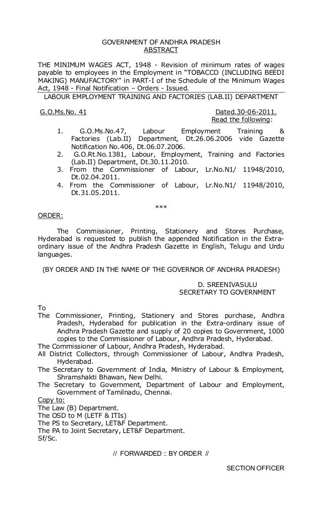 GOVERNMENT OF ANDHRA PRADESH ABSTRACT THE MINIMUM WAGES ACT, 1948 - Revision of minimum rates of wages payable to employee...