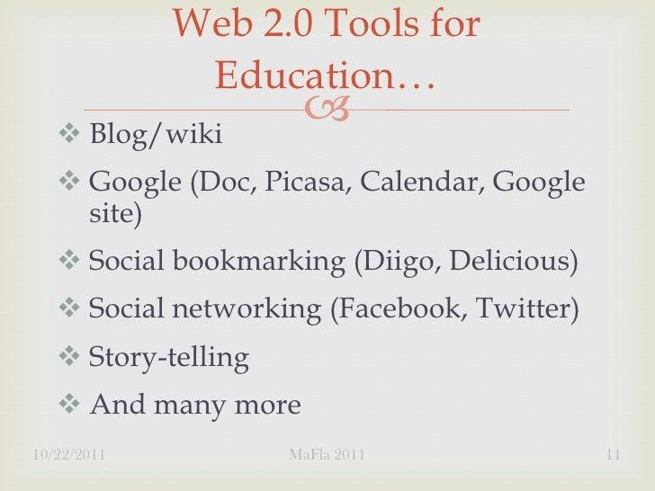 Web 2.0 Tools for              Education…    Blog/wiki                          Google (Doc, Picasa, Calendar, Google  ...