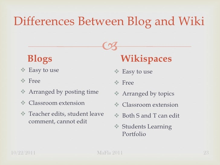 Differences Between Blog and Wiki                                      Blogs                            Wikispaces    Ea...