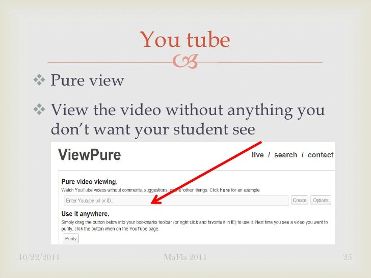 You tube                        Pure view    View the video without anything you     don't want your student see10/22/2...