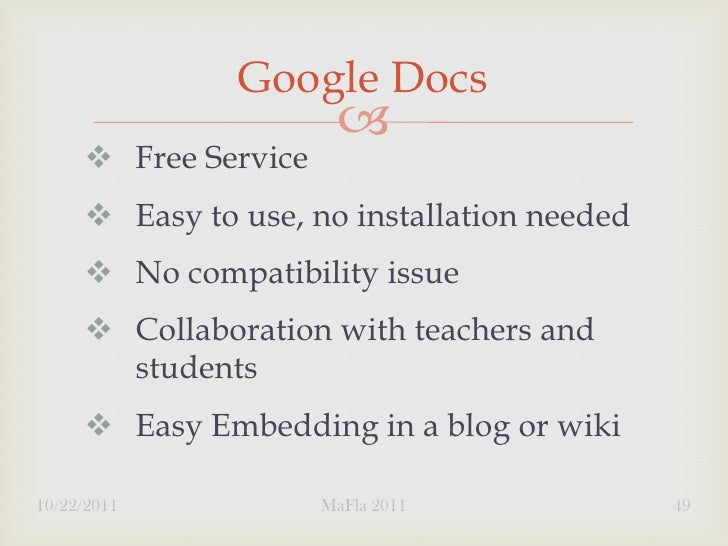 Google Docs                             Free Service      Easy to use, no installation needed      No compatibility is...