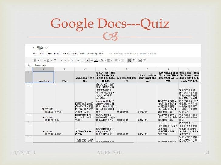 Google Docs---Quiz                     10/22/2011          MaFla 2011    51