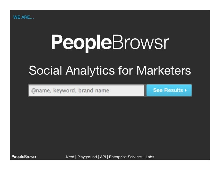 WE ARE...        Social Analytics for MarketersPeopleBrowsr   Kred | Playground | API | Enterprise Services | Labs        ...