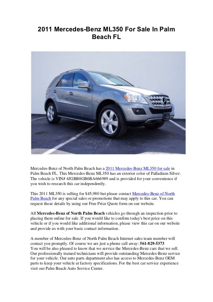 2011 Mercedes Benz ML350 For Sale In Palm Beach FLMercedes Benz Of North  Palm ...