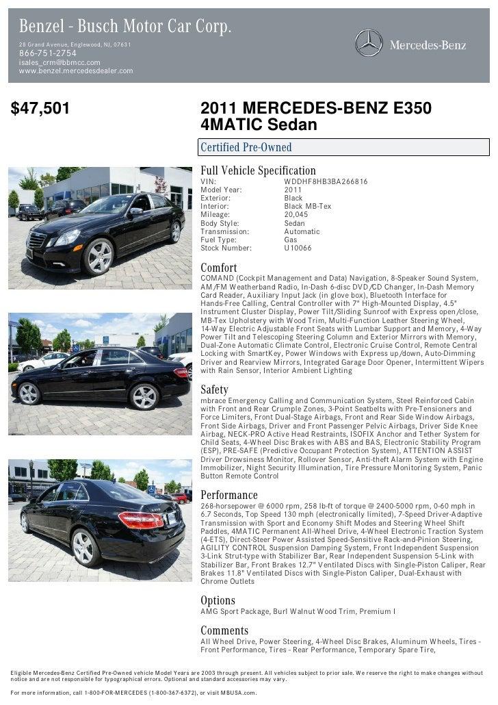 2011 Mercedes Benz E Class E350 For Sale At 18202184 Pdf