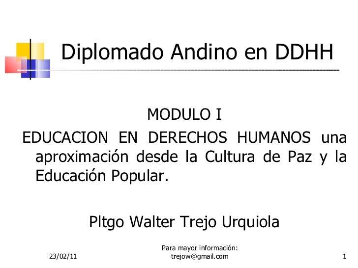 Diplomado Andino en DDHH <ul><li>MODULO I </li></ul><ul><li>EDUCACION EN DERECHOS HUMANOS una aproximación desde la Cultur...