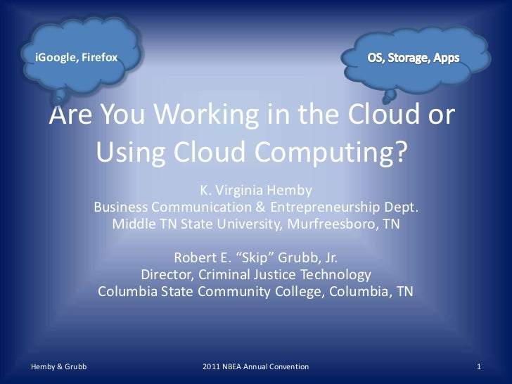 Are you Working in the Cloud?