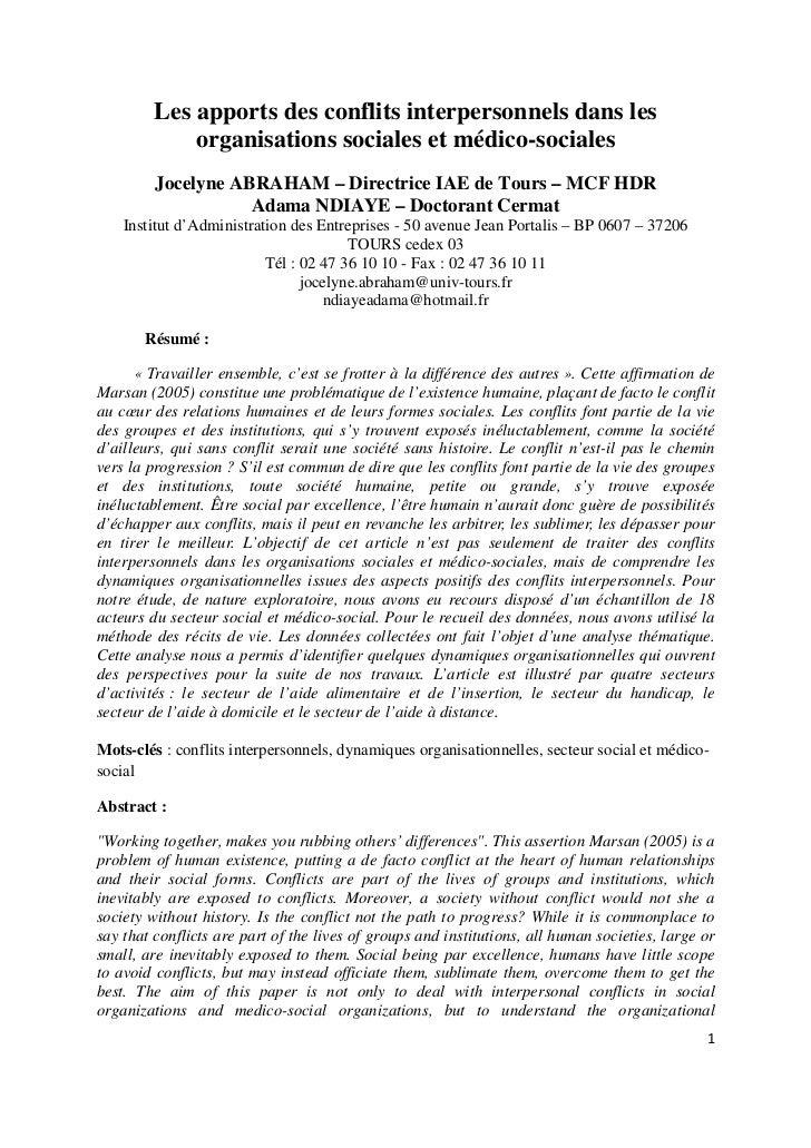 Les apports des conflits interpersonnels dans les             organisations sociales et médico-sociales         Jocelyne A...