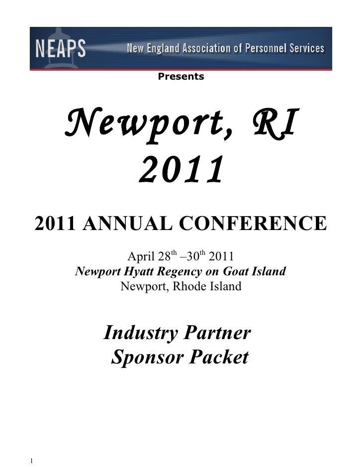Presents      Newport, RI         2011    2011 ANNUAL CONFERENCE               April 28th –30th 2011       Newport Hyatt R...
