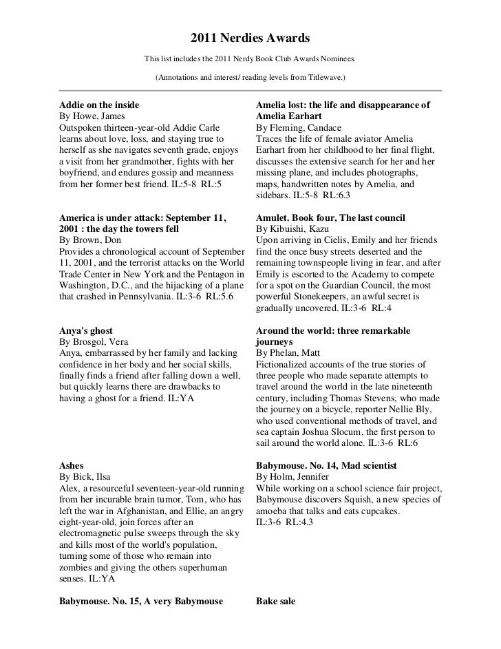 2011 Nerdies Awards                       This list includes the 2011 Nerdy Book Club Awards Nominees.                    ...