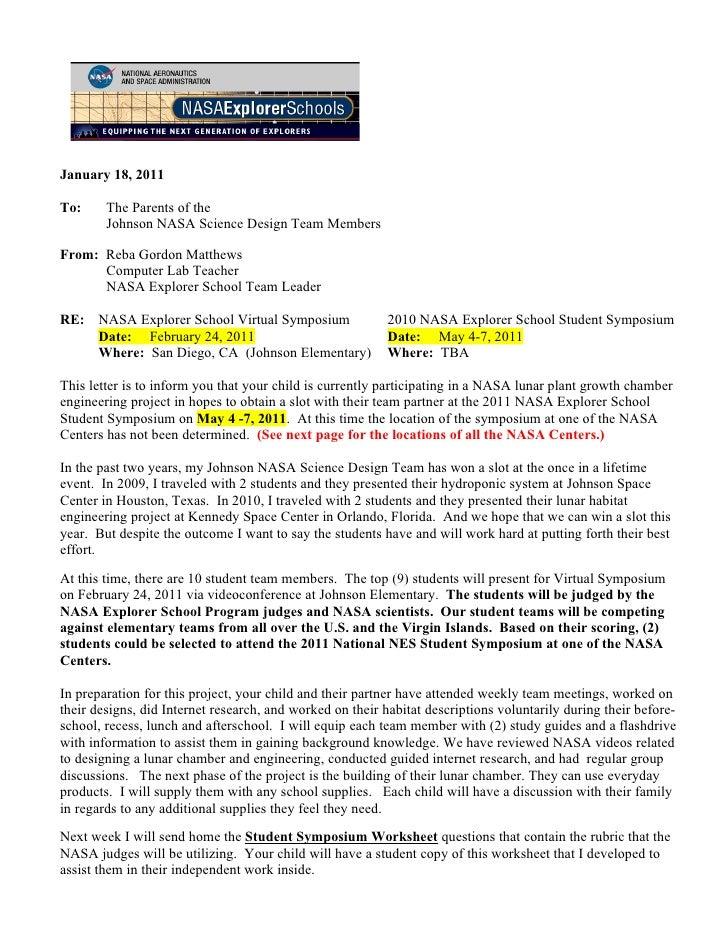 January 18, 2011To:     The Parents of the        Johnson NASA Science Design Team MembersFrom: Reba Gordon Matthews      ...