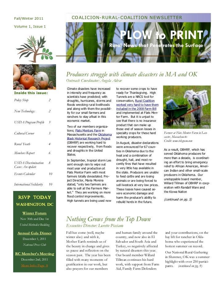 Fall/Winter 2011                     COALICION-RURAL-COALITION NEWSLETTERVolume 1, Issue 1                                ...