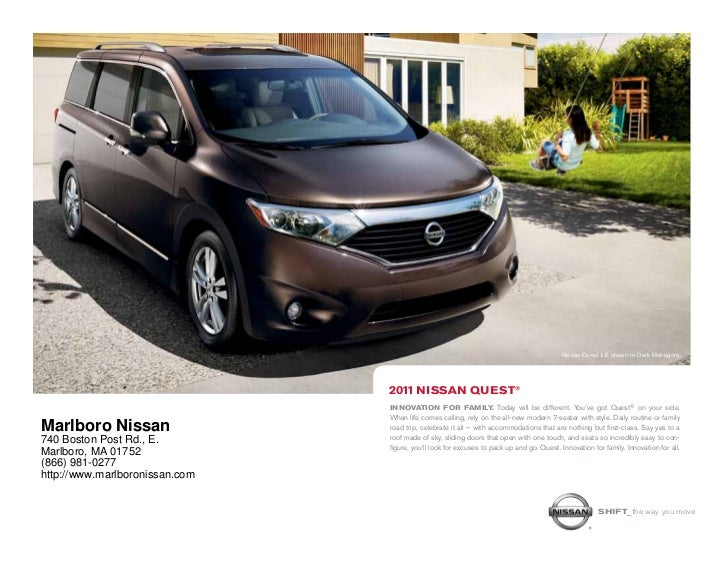 Nissan Quest LE shown in Dark Mahagony.                                2011 NIssAN quesT®                                I...
