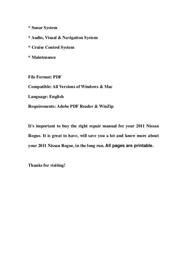 2011 nissan rogue service manual