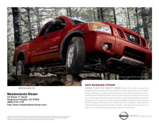 printed Exclusively for 2011 Nissan titan® Nissan Titan King Cab PRO-4X shown in Red Alert. Shift_the way you move1King Ca...