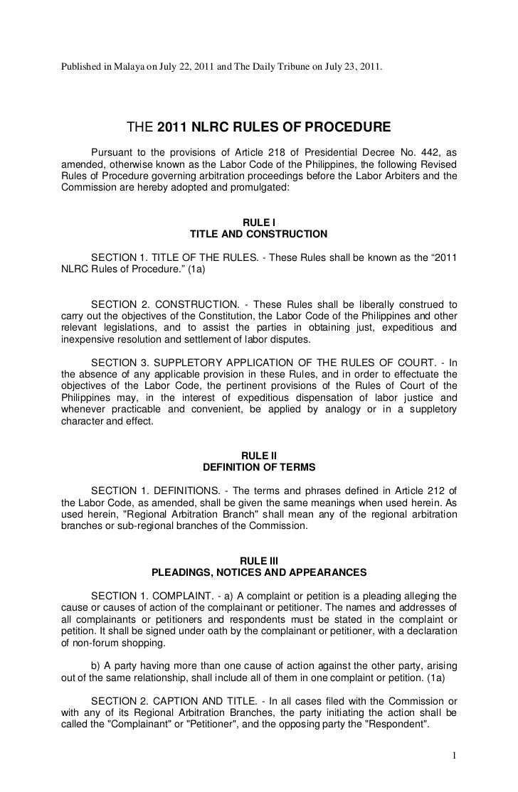 Published in Malaya on July 22, 2011 and The Daily Tribune on July 23, 2011.               THE 2011 NLRC RULES OF PROCEDUR...