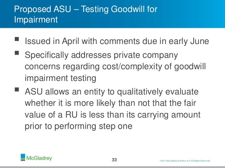 goodwill impairment essay An asset's carrying value is compared with its recoverable amount and the asset is impaired when the former exceeds the latter any impairment is then allocated to.