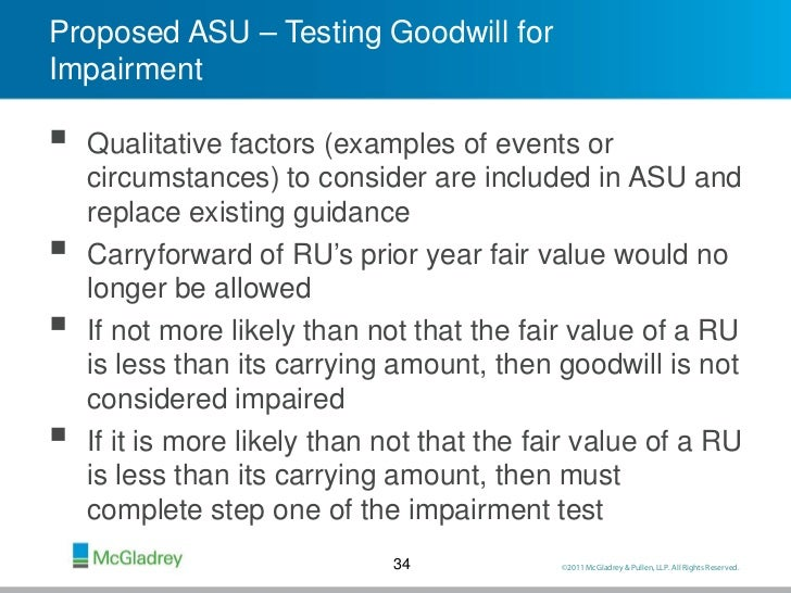 adjusting goodwill for impairment Impairment of assets  annual test for impairment trademarks and goodwill are examples of intangible assets that are tested for impairment on an annual basis .