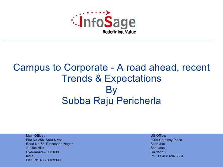 Campus to Corporate - A road ahead, recent Trends & Expectations By Subba Raju Pericherla Main Office : Plot No.258, Sree ...