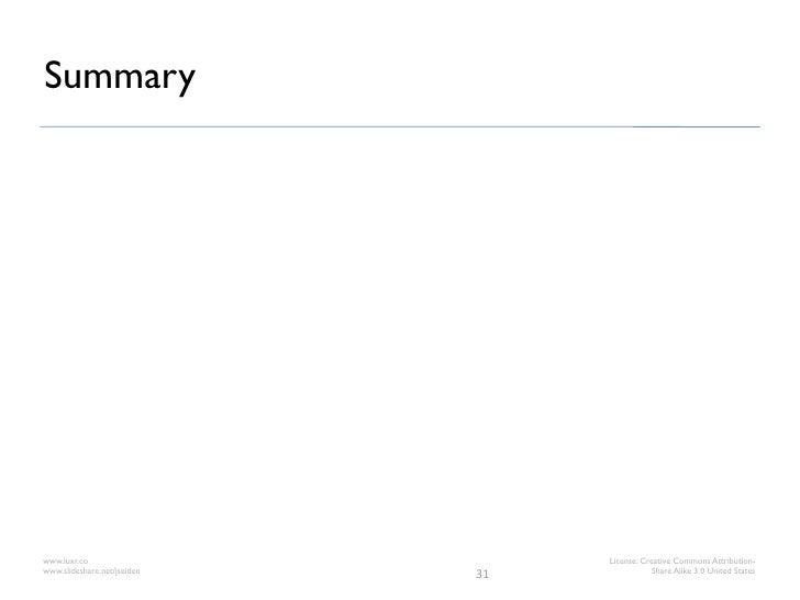 Summarywww.luxr.co                       License: Creative Commons Attribution-www.slideshare.net/jseiden   31            ...