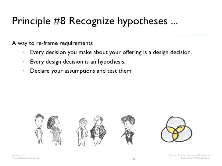 Principle #8 Recognize hypotheses ...A way to re-frame requirements     Every decision you make about your offering is a ...