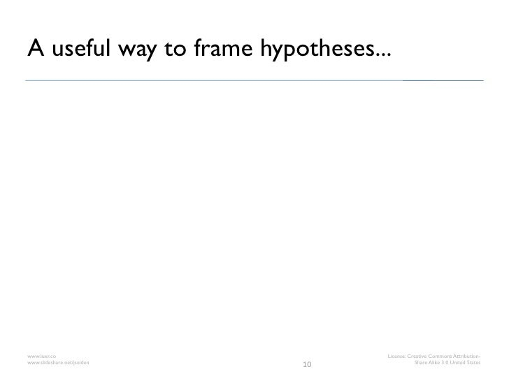 A useful way to frame hypotheses...www.luxr.co                       License: Creative Commons Attribution-www.slideshare....
