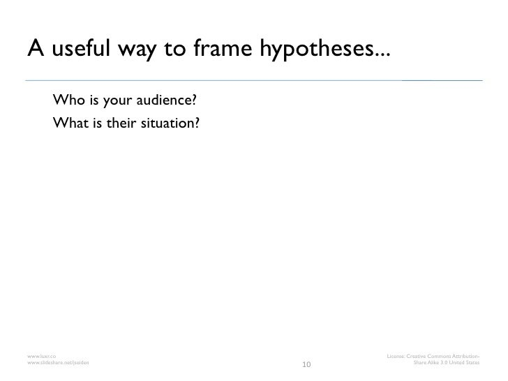 A useful way to frame hypotheses...          Who is your audience?          What is their situation?www.luxr.co           ...