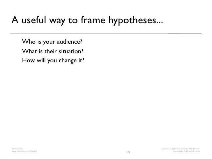 A useful way to frame hypotheses...          Who is your audience?          What is their situation?          How will you...