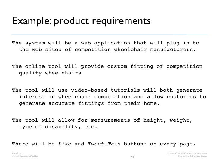 Example: product requirementsThe system will be a web application that will plug in to  the web sites of competition wheel...