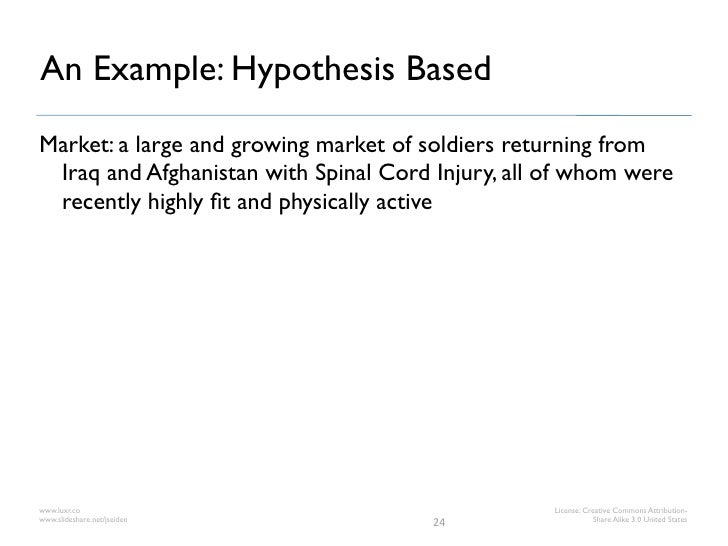 An Example: Hypothesis BasedMarket: a large and growing market of soldiers returning from Iraq and Afghanistan with Spinal...
