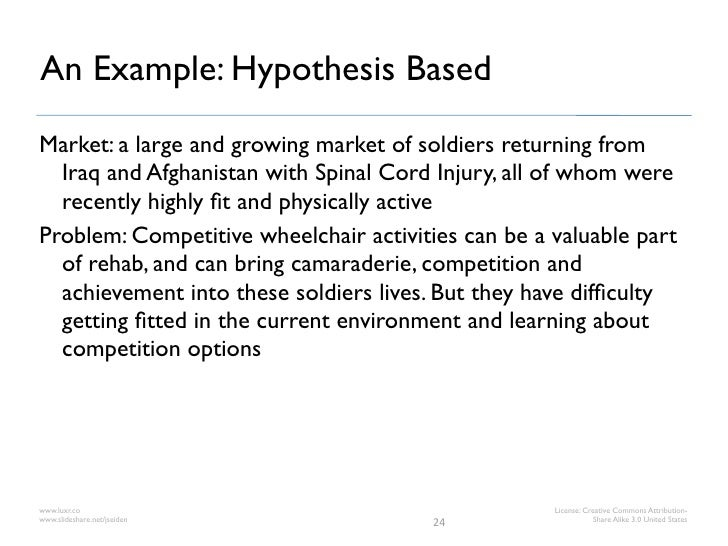 An Example: Hypothesis BasedMarket: a large and growing market of soldiers returning from  Iraq and Afghanistan with Spina...