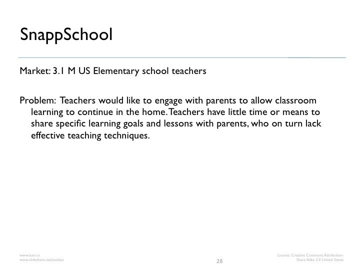SnappSchoolMarket: 3.1 M US Elementary school teachersProblem: Teachers would like to engage with parents to allow classro...