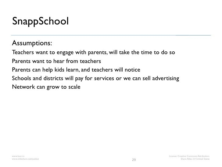 SnappSchoolAssumptions:Teachers want to engage with parents, will take the time to do soParents want to hear from teachers...